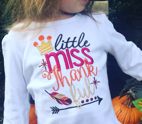 Girls Little Miss Thankful Shirt or Onesie