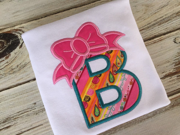Girls bow alphabet shirt