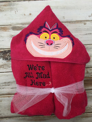 Cheshire cat hooded towel