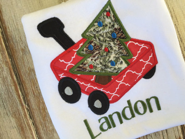 Red Wagon and Christmas Tree Shirt or Onesie