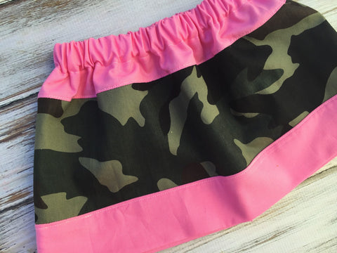Girls Camo and Pink circle Skirt