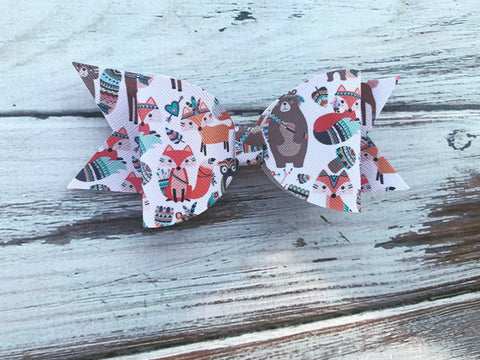 Forest animals Faux Leather Bow