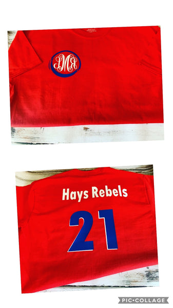 Home Coming Monogrammed Hays Rebels Class of shirt