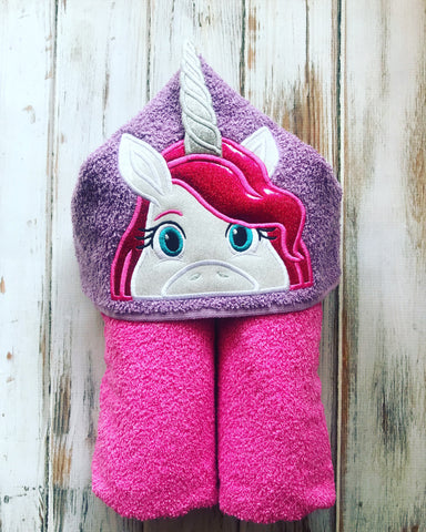 Unicorn 3D Horn Hooded Towel