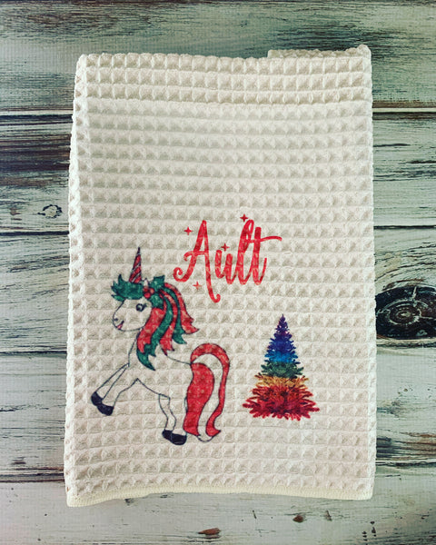 Christmas unicorn Dish Towel