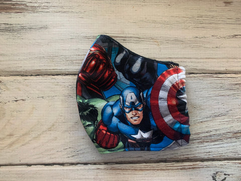 Kids 3-7 year old Sized Super Hero Marvel Comics Face Mask