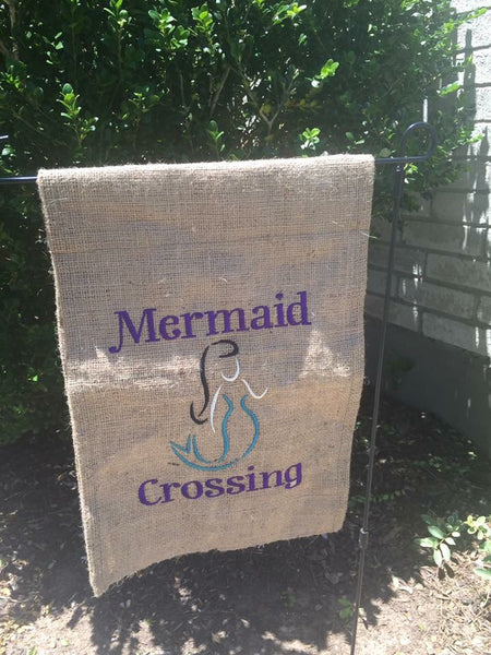 Mermaid Crossing Garden Flag