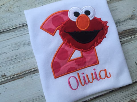 Girls Elmo shirt, 2nd Birthday shirt