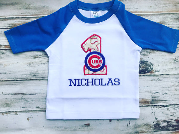 Cubs Baseball 1st Birthday Raglan shirt