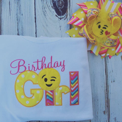 Birthday girl emoji shirt