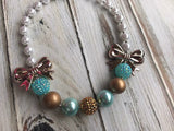Chunky bead necklace, gold and Aqua, fall necklace