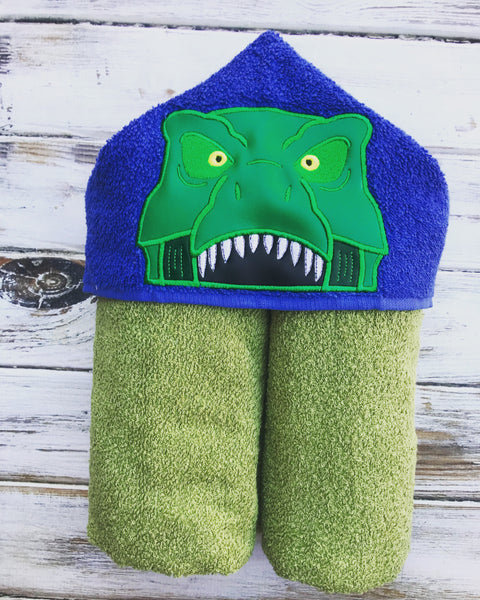 Dinosaur T Rex Hooded Towel