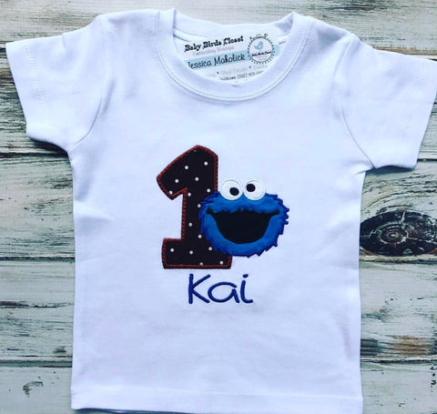 Cookie Monster 1st Birthday Shirt Babybirdscloset