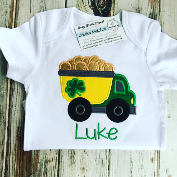 St. Patricks Day Dump Truck Shirt or bodysuit