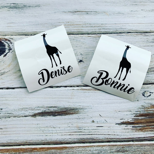Giraffe name vinyl decal