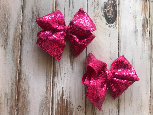 Large Pink Sequin Glitter Bow