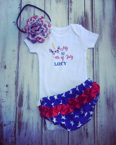 My 1st 4th of July Unicorn Shirt or bodysuit