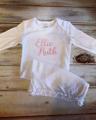 White Monogrammed Infant Gown