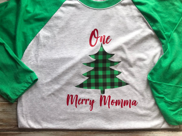 One Merry Momma Raglan Christmas Shirt