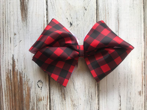 Large Red buffalo plaid Bow