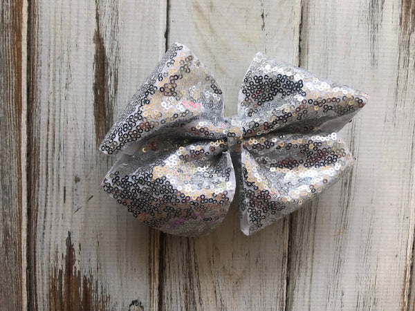 Large Silver Sequin Glitter Bow