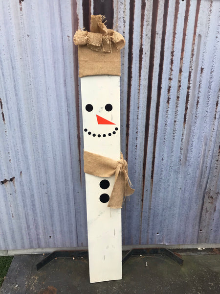 Wooden Porch Snowman