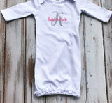 Ruffle White Monogrammed Infant Gown