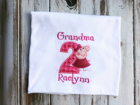 Peppa Pig 2nd Birthday Grandma shirt