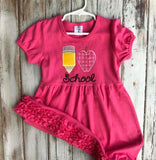 I Love School Ruffle Short Sleeve Dress