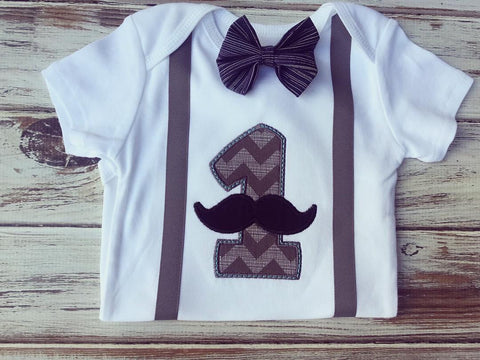 Mustache and Bow ties 1st Birthday onesie