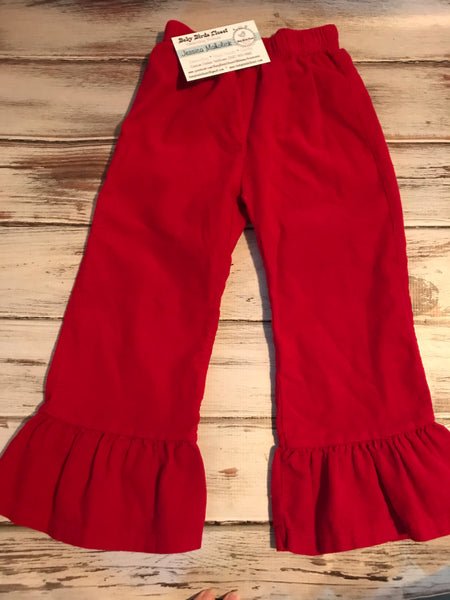 Red Corduroy ruffle pants