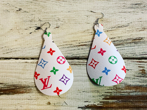 LV Inspired Leather Earrings