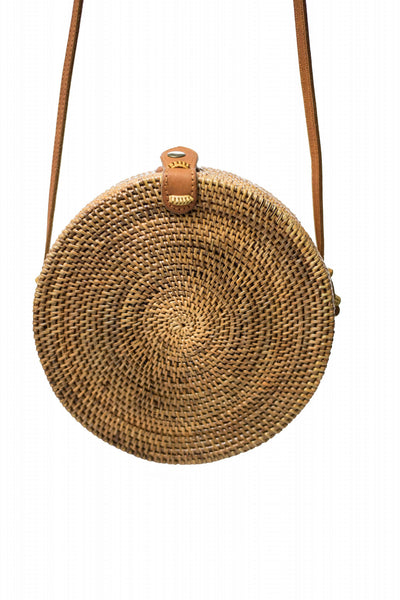 Handwoven Round Rattan Bag (Large)