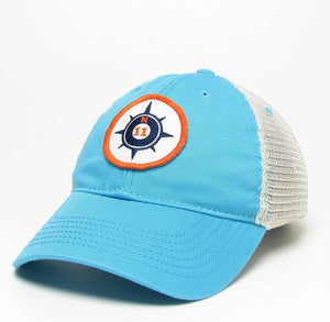 Aqua Blue Compass Trucker hat
