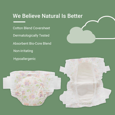 Happy Little Camper x Hilary Duff Ultra-Absorbent Hypoallergenic Natural Baby Nappies with Bio-Core Blend and Strong Latex and Chlorine-Free Protection