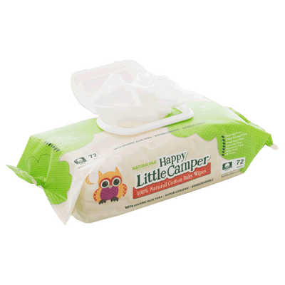 Happy Little Camper x Hilary Duff Gentle Hypoallergenic and dermatologically tested Natural Cotton Wipes with Organic Aloe Vera and Vitamin E Chlorine-Free
