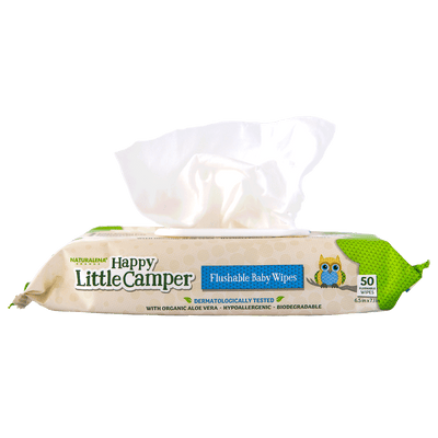 Happy Little Camper x Hilary Duff Gentle Hypoallergenic and Dermatalogically Tested Natural Flushable Septic Safe wipes with Organic Aloe Vera and Vitamin E