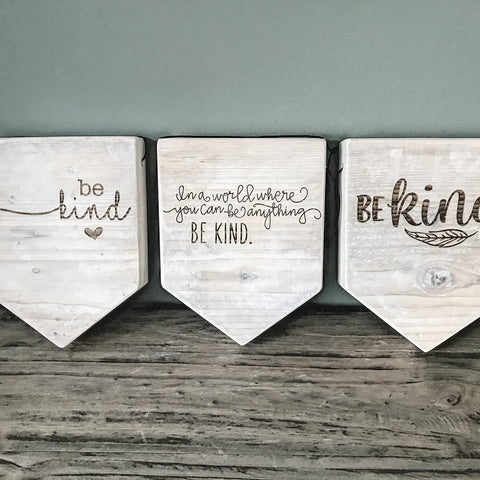 "Rustic Wooden Banner ""Be Kind"""