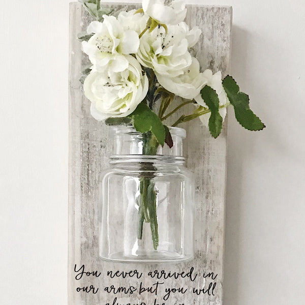 Rustic vase and flowers plaque