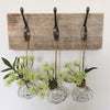Rustic wooden block with hooks