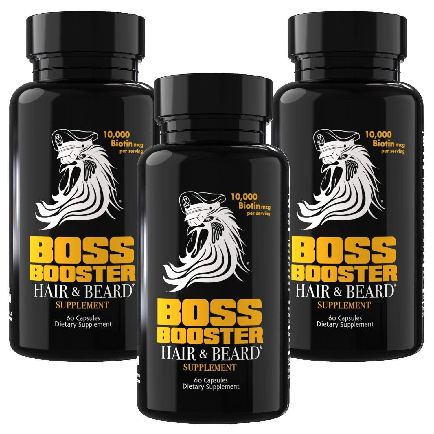Boss Booster Beard & Hair Growth Supplements - 3 Pack