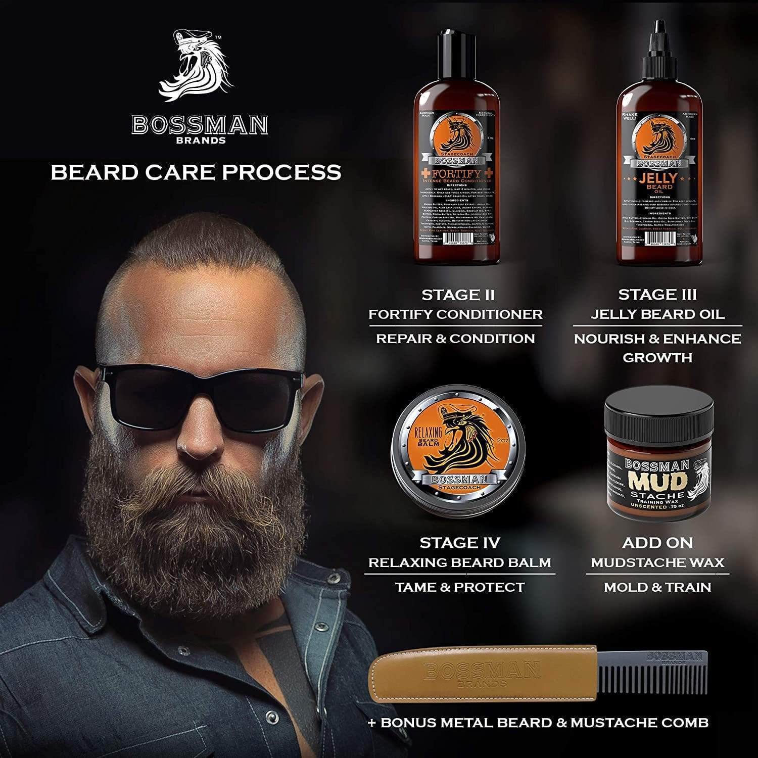 Bossman Brands 4-Stage Beard Care Process