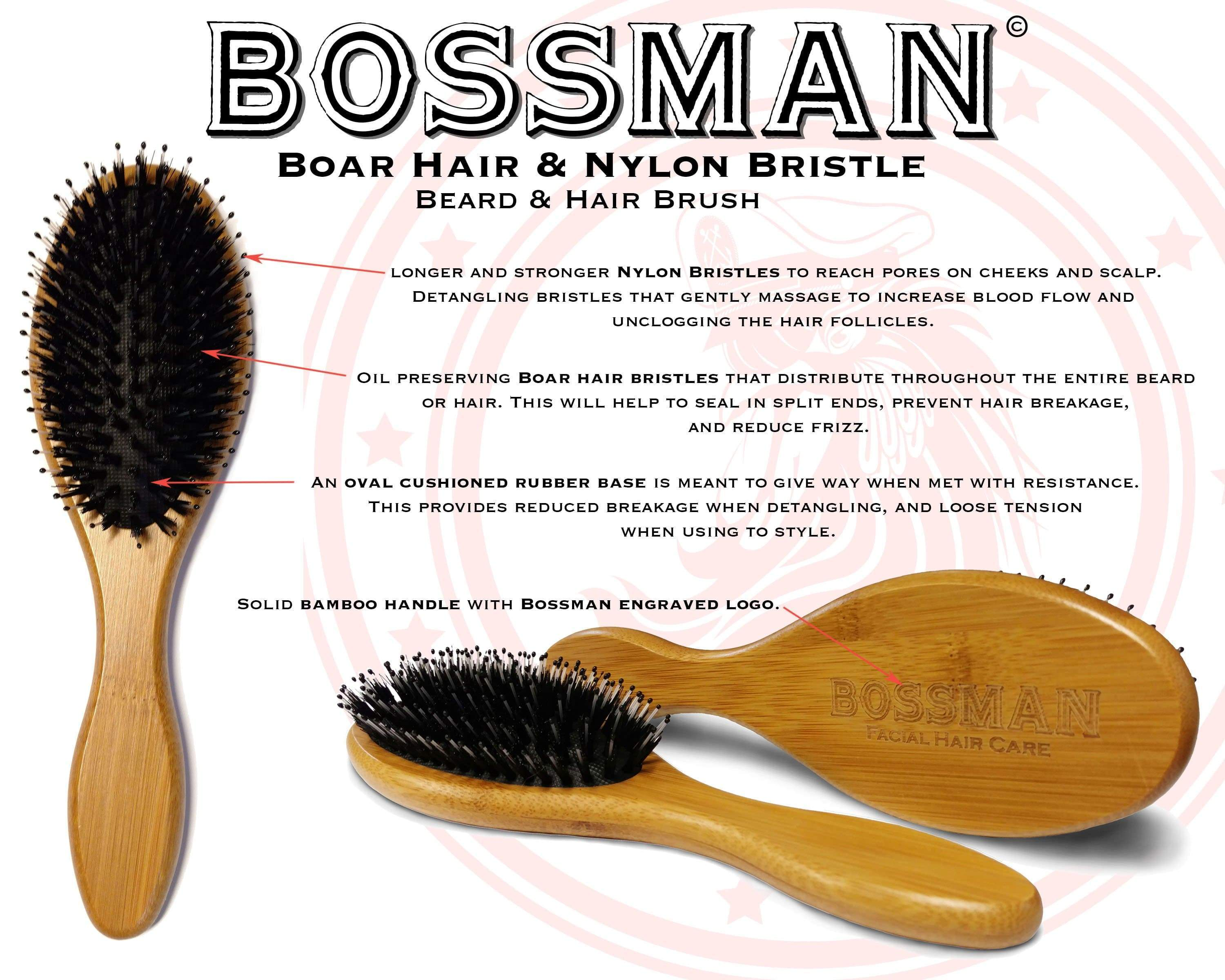 Bossman Boar Hair & Nylon Bristles Bamboo Handle Beard Brush