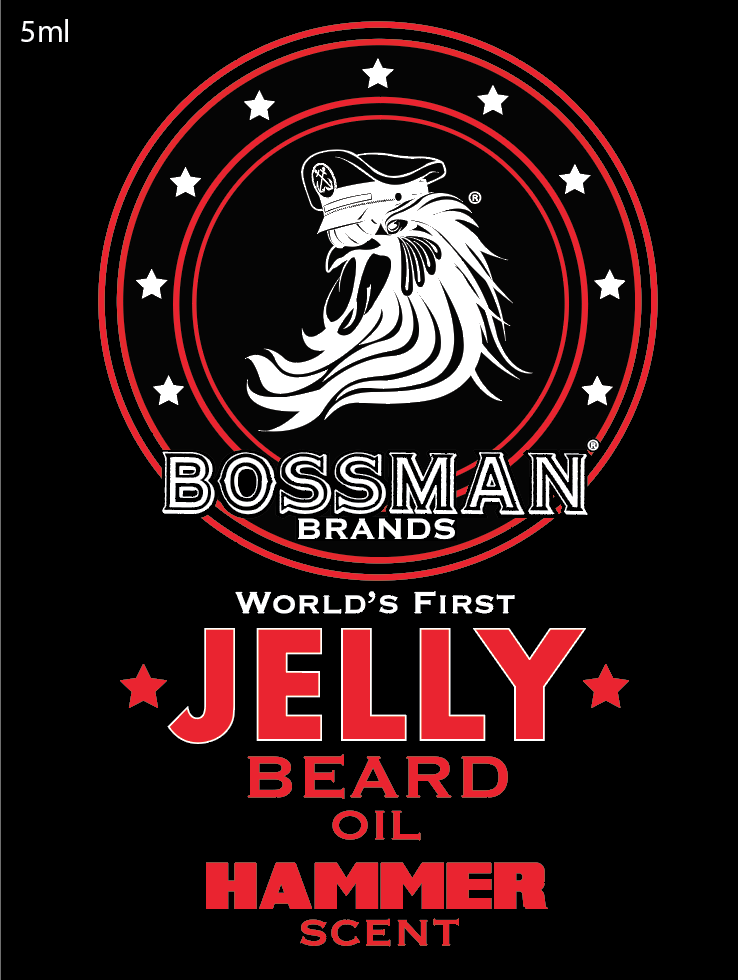 The World's First Jelly Beard Oil Hammer Label