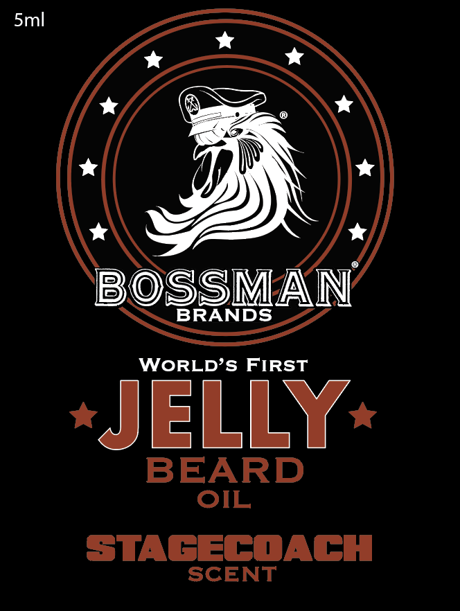 The World's First Jelly Beard Oil Stagecoach Label