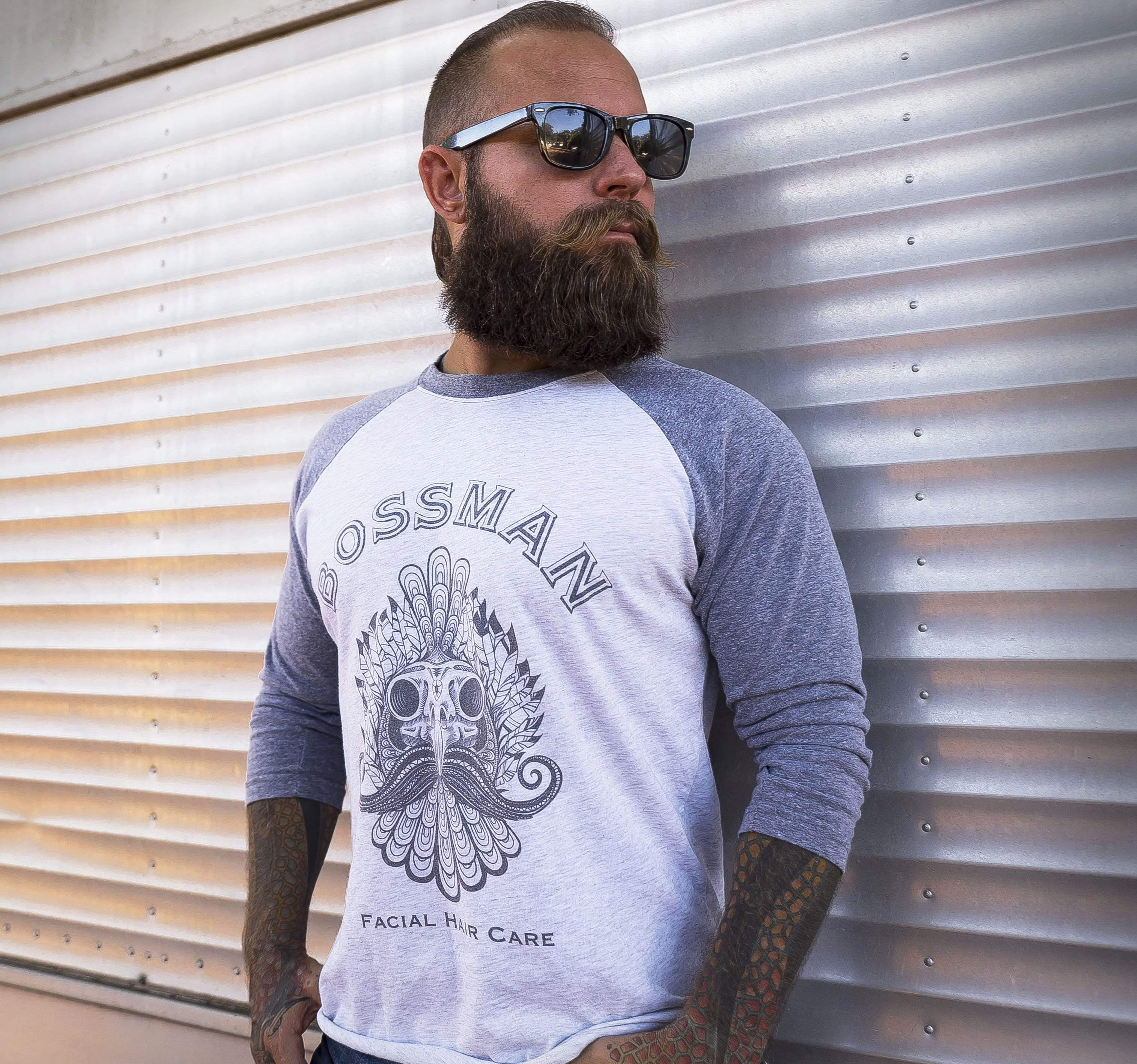 Men Wearing Bossman Rooster Skull Baseball Tee