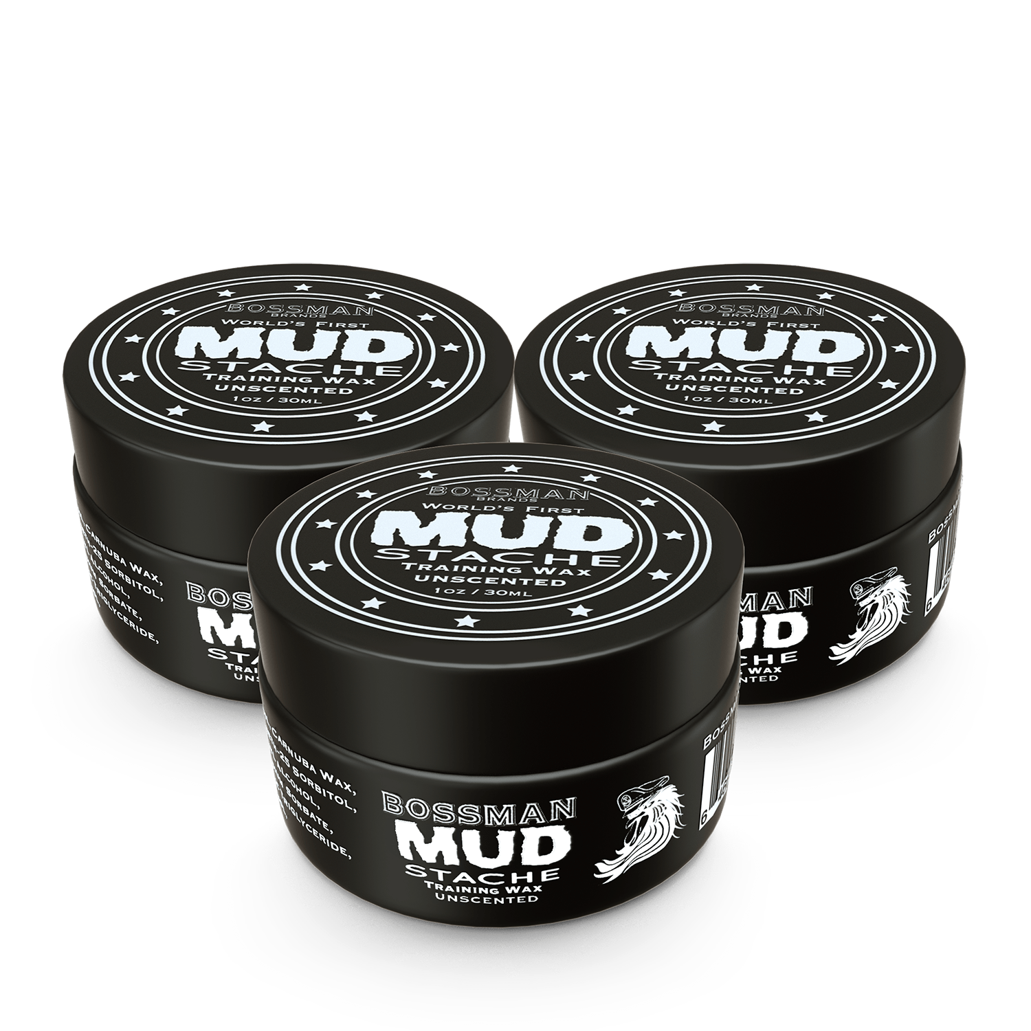 Bossman MUDstache Unscented Mustache Training Wax - 3 Pack