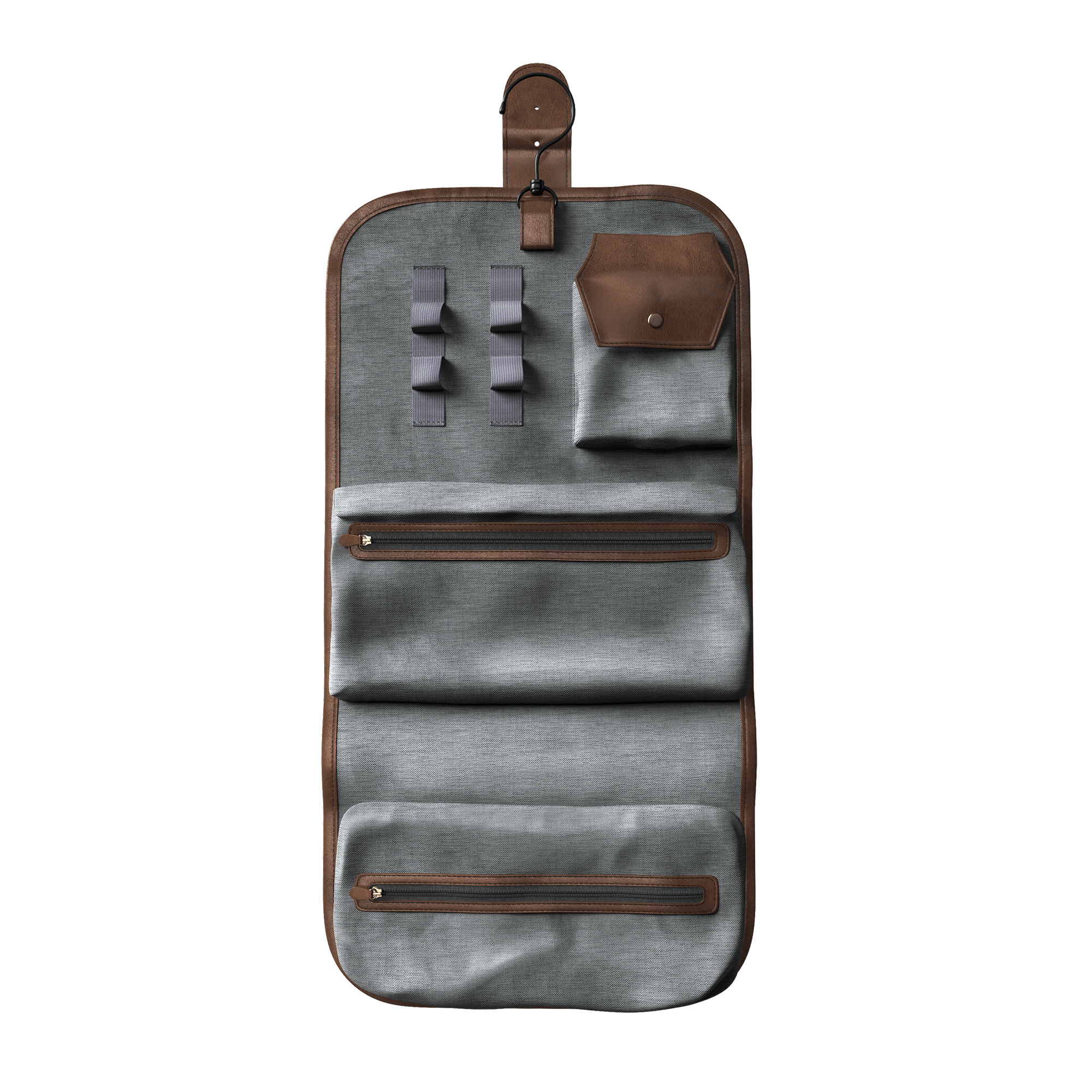Bossman Hanging Toiletry Leather Bag Open