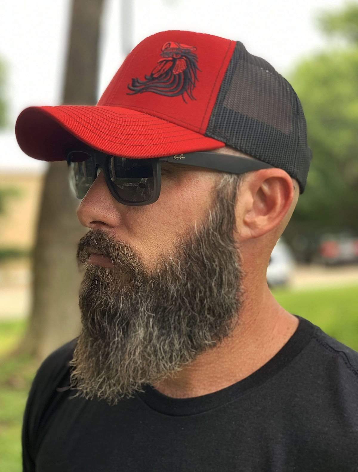 Bossman Rooster Red & Black Mesh Hat