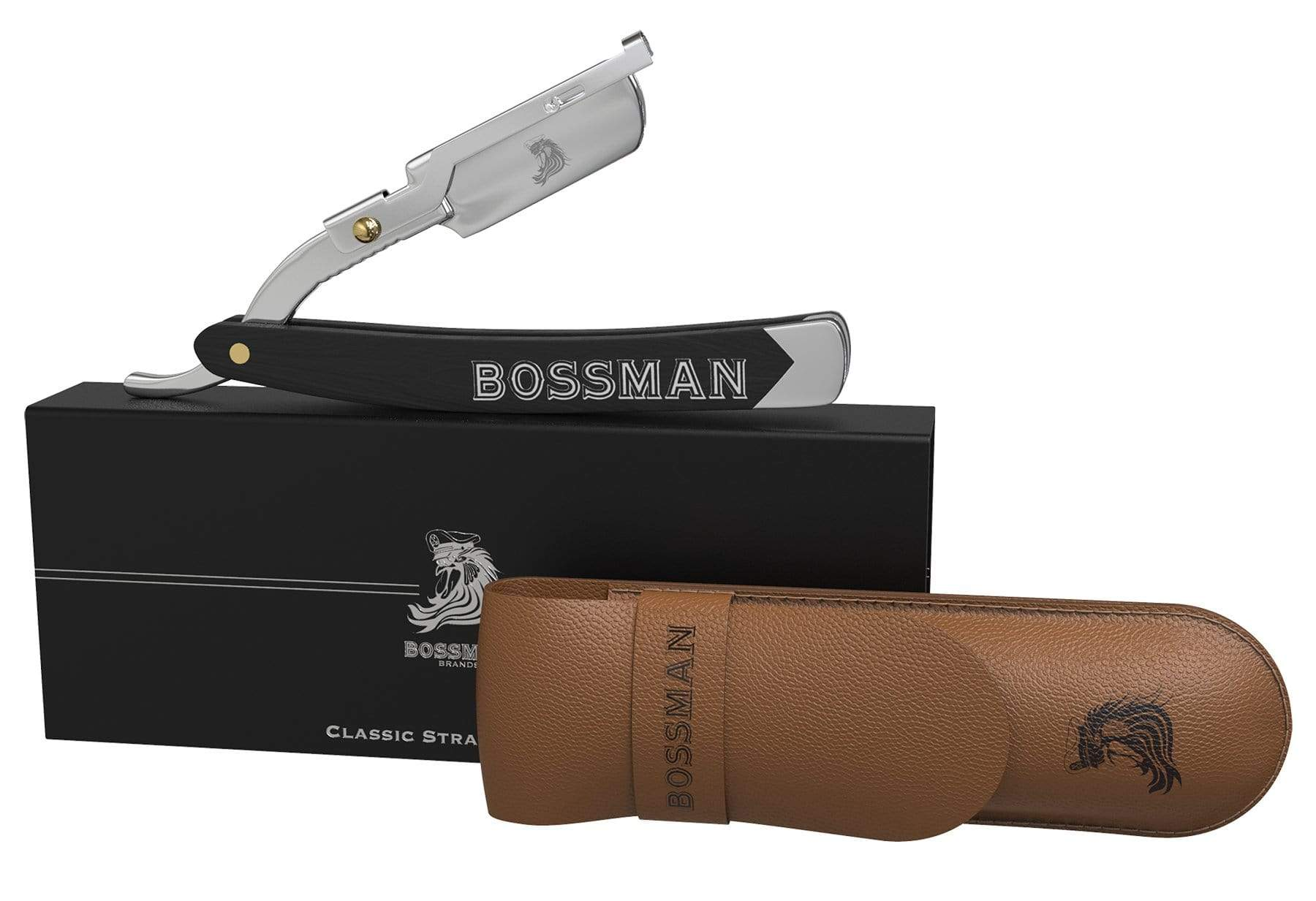 Bossman Straight Razors with Magnetic Box